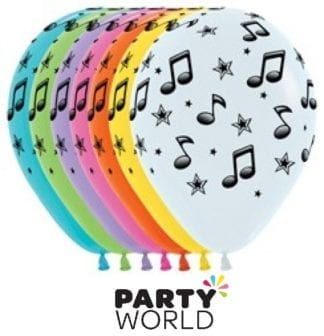 Music Notes Assorted 30cm Latex Balloons (12)
