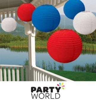 Paper Lanterns Blue & White & Red