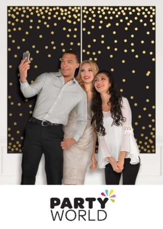 Photo Booth Plastic Scene Setter Black & Gold Dots