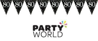 Sparkling Celebration 80th Prismatic Pennant Banner - Plastic