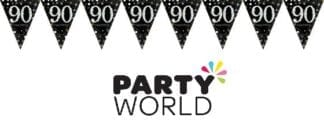 Sparkling Celebration 90th Prismatic Pennant Banner - Plastic