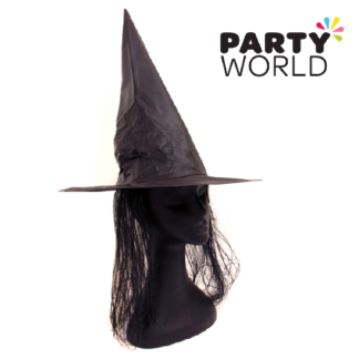 black witches hat with hair adults