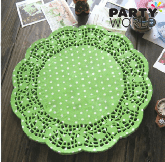 green dots doily