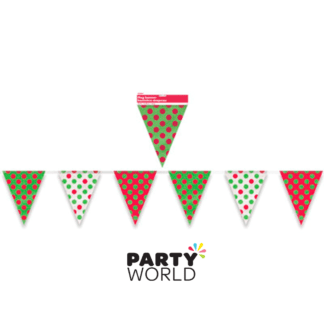 red green white dots flag banner bunting