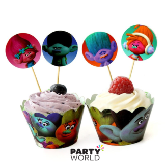 trolls cupcake toppers and wraps