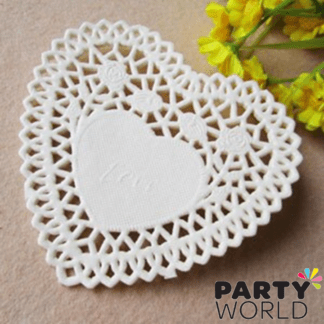 white heart doilies