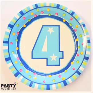 4th bday plates blue