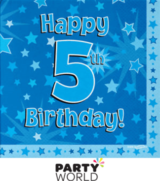 5th birthday napkins blue