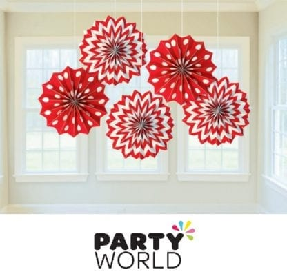 Apple Red Paper Fans (5)