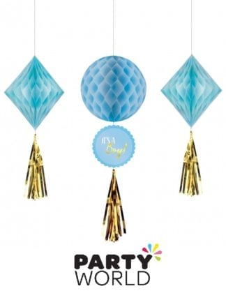 Baby Shower Boy Honeycomb Hanging Decorations (3)