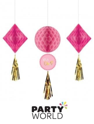 Baby Shower Girl Honeycomb Hanging Decorations (3)