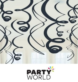 Black Plastic Swirl Hanging Decorations
