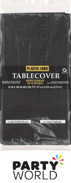 Black Rectangular Plastic Lined Tablecover