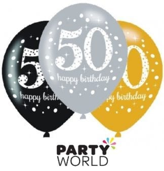 Happy 50th Birthday Assorted 30cm Latex Balloons (6)