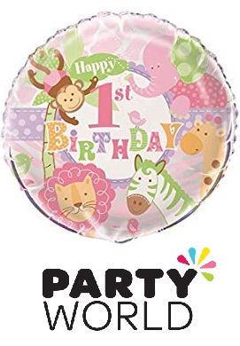 Pink Safari 1st Birthday Foil Balloon