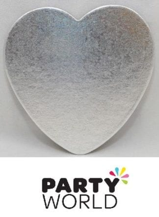 Silver Heart Shaped 20cm Cake Board
