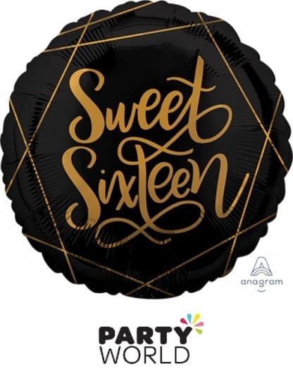 Sweet Sixteen Black And Gold Foil Balloon