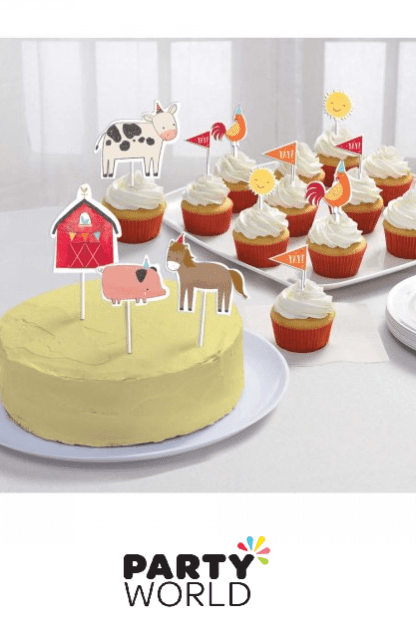 farm paper cake toppers