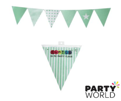 mint green paper bunting