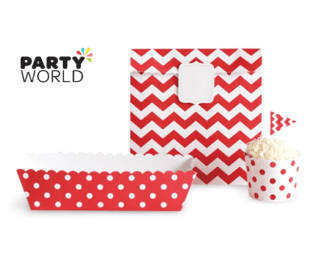 red pattern decor kit cupcake cases, trays, bags