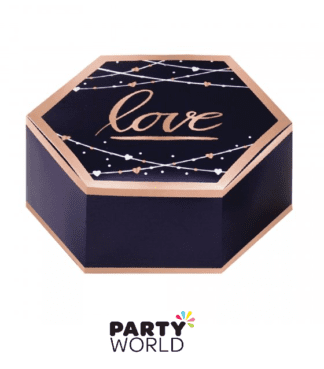 rose gold navy love favor boxes