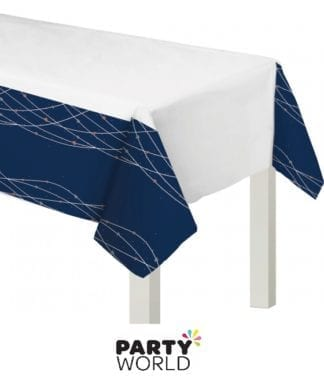 rose gold navy plastic table cover