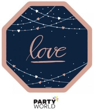 rose gold navy wedding love plates