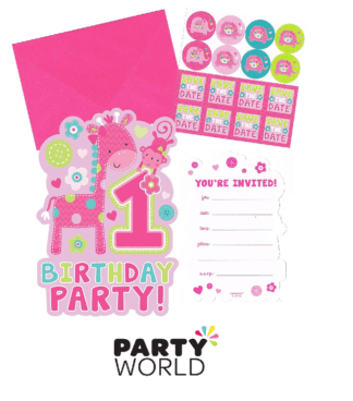 1st birthday pink invitations
