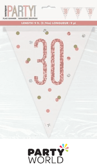 30th rose gold banner