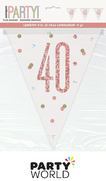 40th rose gold banner