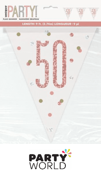 50th rose gold banner