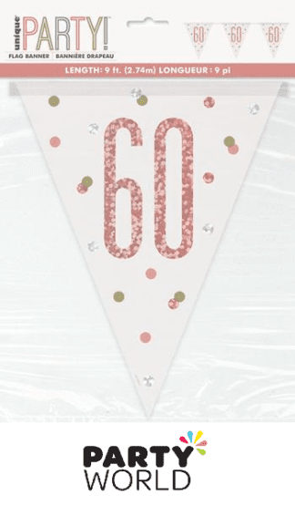 60th rose gold flag banner