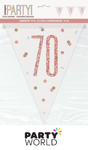 70th rose gold banner