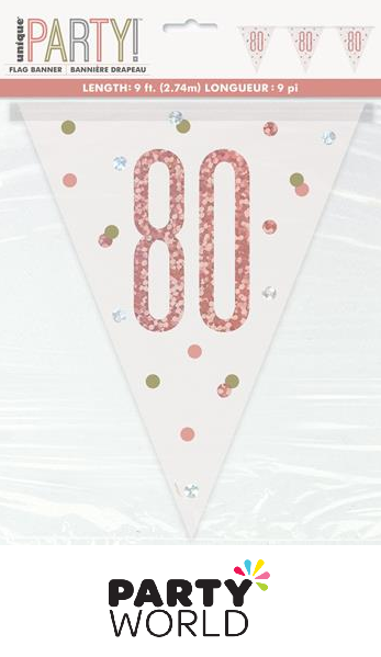 80th rose gold banner