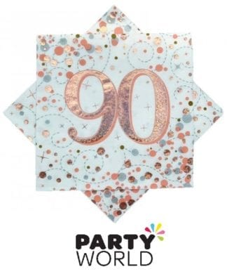 90th Rose Gold Sparkling Fizz Luncheon Napkins (16)