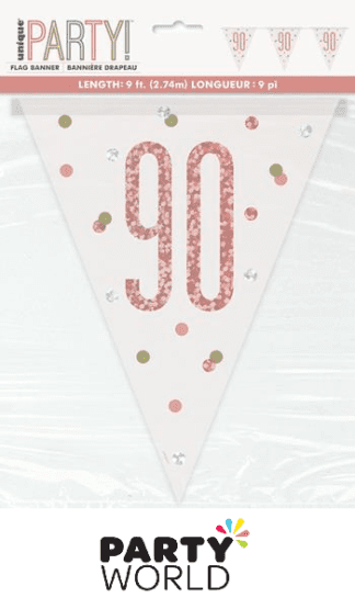 90th rose gold flag banner