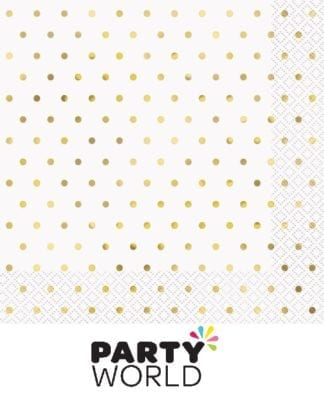 Gold Dots On White Luncheon Napkins (16)