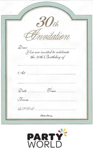 30th invitations pad