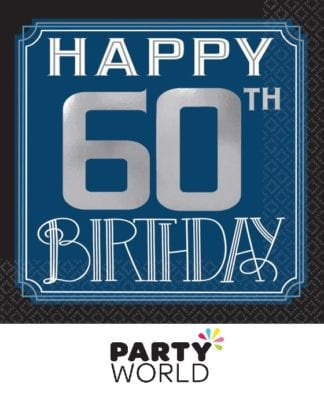 Happy 60th Birthday Beverage Napkins Foil Stamped (16)