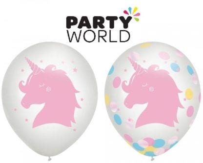 Magical Rainbow Unicorn 30cm Latex Balloons & Confetti (3)