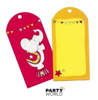 circus lolly bag tags