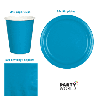 turquoise blue tableware value pack