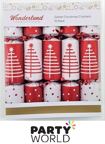 red white christmas crackers
