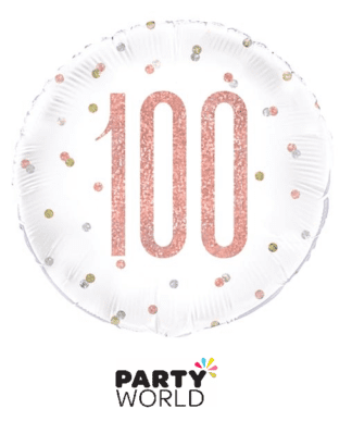 100th rose gold foil balloon