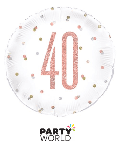 40th rose gold balloons