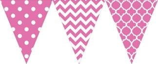 Large Pennant Plastic Banner Bright Pink