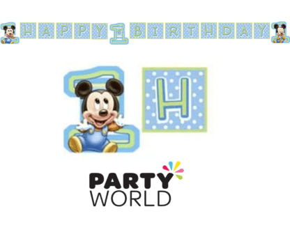 baby mickey birthdya banner