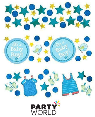 blue boy baby shower confetti