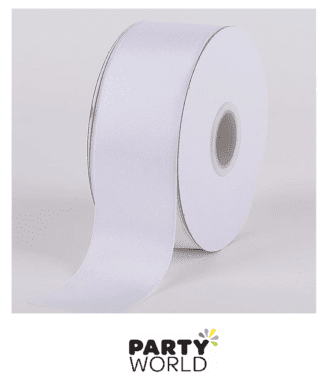 White Satin 3.8cm Wide Ribbon (25m) - Car Ribbon