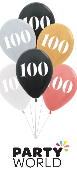 100th Birthday Assorted Latex Balloons (6)